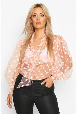 Womens Pink Plus Polka Dot Organza Pussybow Blouse