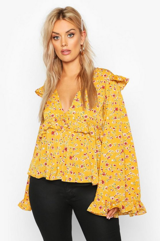 Mustard Plus Floral Print Frill Smock Top