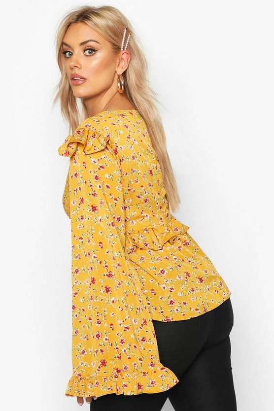 Plus Floral Print Frill Smock Top