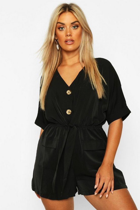 Womens Black Plus Button Detail Tie Front Playsuit