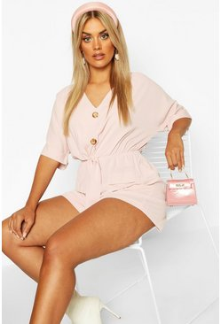 Blush Plus Button Detail Tie Front Playsuit