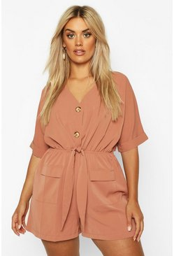 Mocha Plus Button Detail Tie Front Playsuit