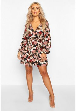 Womens Black Plus Floral Self Belt Skater Dress