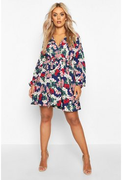 Womens Navy Plus Floral Self Belt Skater Dress