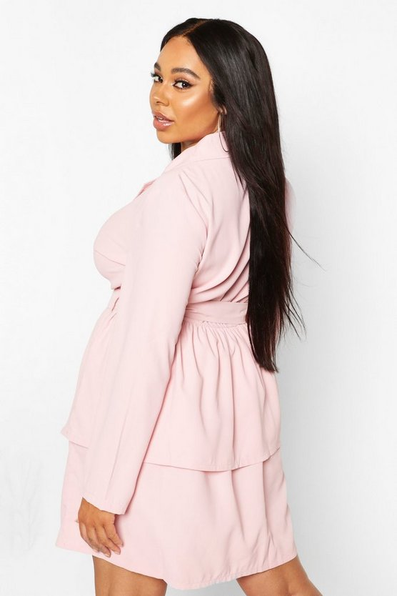 Plus Ruffle Self Belt Blazer Dress