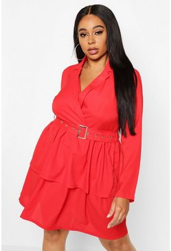 Red Plus Ruffle Self Belt Blazer Dress