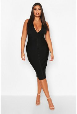 Black Plus Plunge Halterneck Bandage Sculpt Midi Dress