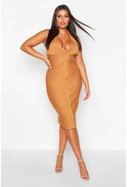 Womens Gold Plus Plunge Halterneck Bandage Sculpt Midi Dress