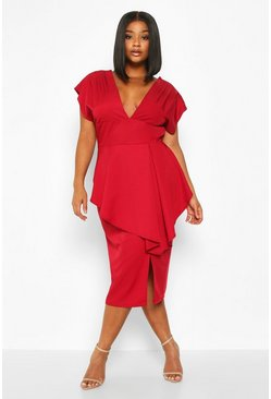 Womens Berry Plus PLunge Ruffle Detail Midi Dress