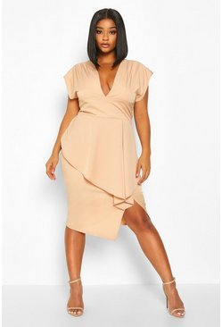 Womens Nude Plus PLunge Ruffle Detail Midi Dress