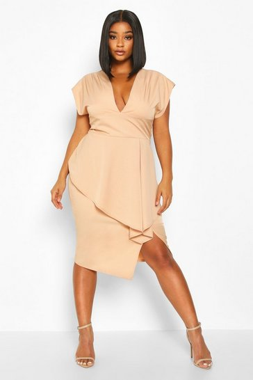 Nude Plus PLunge Ruffle Detail Midi Dress