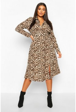 Womens Brown Plus Leopard Shirt Midi Dress