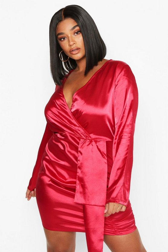 Womens Wine Plus Satin Plunge Ruched Wrap Dress