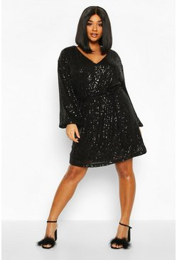 Womens Black Plus Sequin Belted Blouson Sleeve Wrap Dress