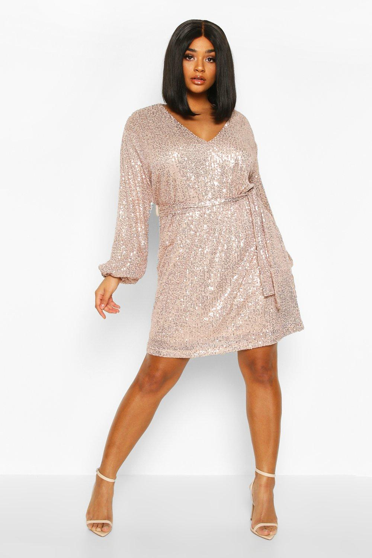 60s 70s Plus Size Dresses, Clothing, Costumes Plus Sequin Belted Blouson Sleeve Wrap Dress  AT vintagedancer.com