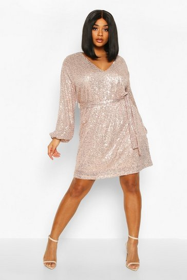 Womens Gold Plus Sequin Belted Blouson Sleeve Wrap Dress