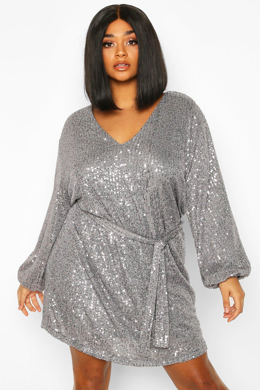 70s Dresses – Disco Dress, Hippie Dress, Wrap Dress Plus Sequin Belted Blouson Sleeve Wrap Dress  AT vintagedancer.com