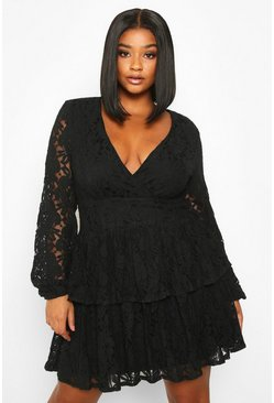 Black Plus Lace Plunge Ruffle Skater Dress