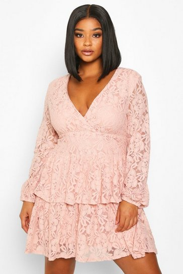 Womens Blush Plus Lace Plunge Ruffle Skater Dress
