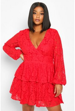 Womens Red Plus Lace Plunge Ruffle Skater Dress
