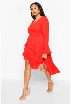 Red Plus Plunge Neck Frill Detail Midi Dress