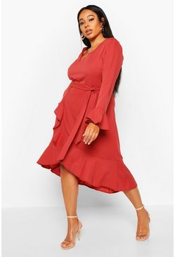 Womens Rose Plus Plunge Neck Frill Detail Midi Dress