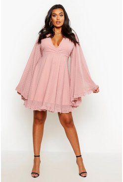 Rose Plus Dobby Chiffon Wide Sleeve Skater Dress