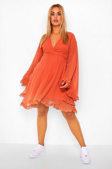 Terracotta Plus Dobby Chiffon Wide Sleeve Skater Dress