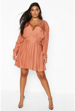 Terracotta Plus Plunge Ruched Waist Frill Skater Dress