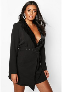 Black Plus Self Belt Sequin Collar Blazer Dress