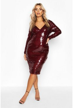 Berry Plus Sequin Plunge Neck Midi Dress
