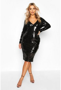 Black Plus Sequin Plunge Neck Midi Dress