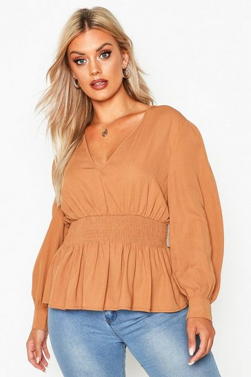 Womens Camel Plus Shirred Waist Peplum Blouse