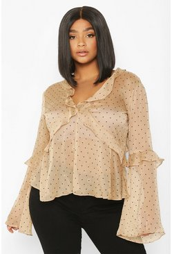 Womens Mocha Plus Polka Dot Sheer Chiffon Ruffle Floaty Top