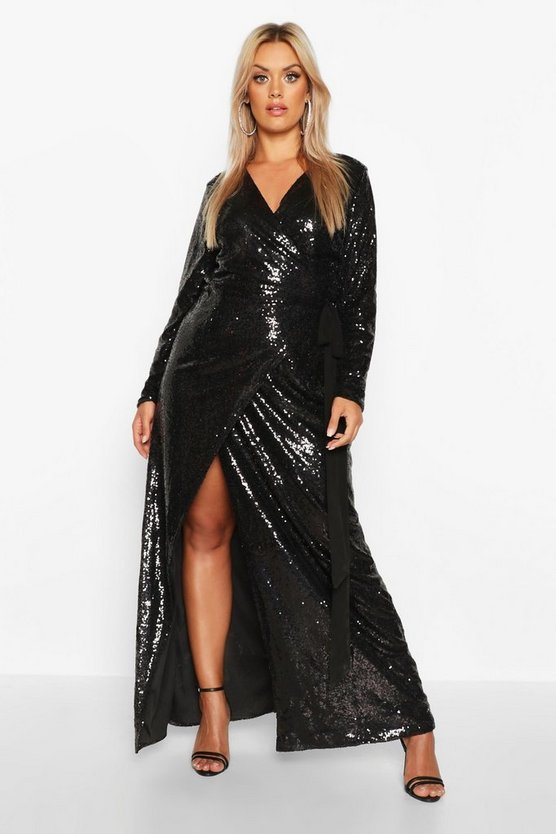 Black Plus Sequin Wrap Floor Sweeping Maxi Dress