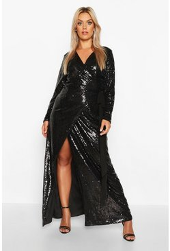 Womens Black Plus Sequin Wrap Floor Sweeping Maxi Dress
