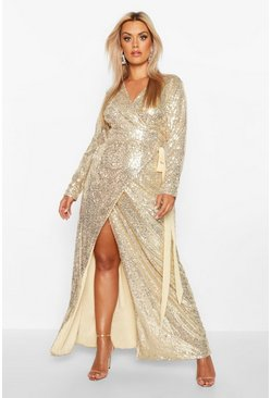 Womens Gold Plus Sequin Wrap Floor Sweeping Maxi Dress