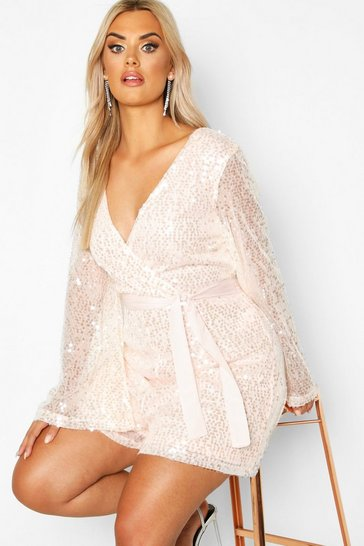 Womens Blush Plus Sequin Wrap Playsuit