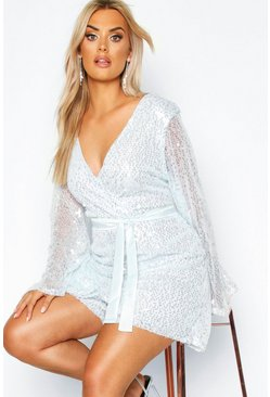 Womens Silver Plus Sequin Wrap Playsuit