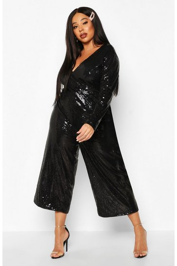 Womens Black Plus Sequin Plunge Culotte Jumpsuit