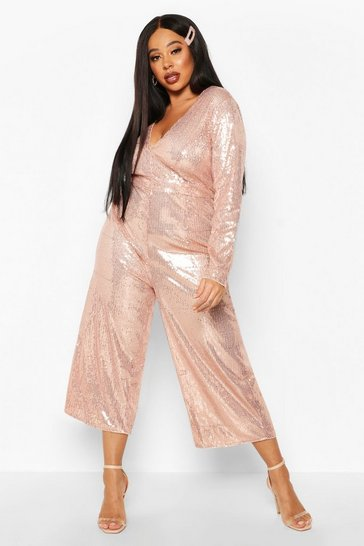 Womens Rose gold Plus Sequin Plunge Culotte Jumpsuit