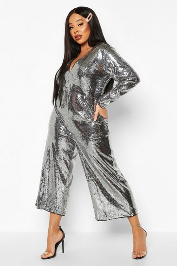 Womens Silver Plus Sequin Plunge Culotte Jumpsuit