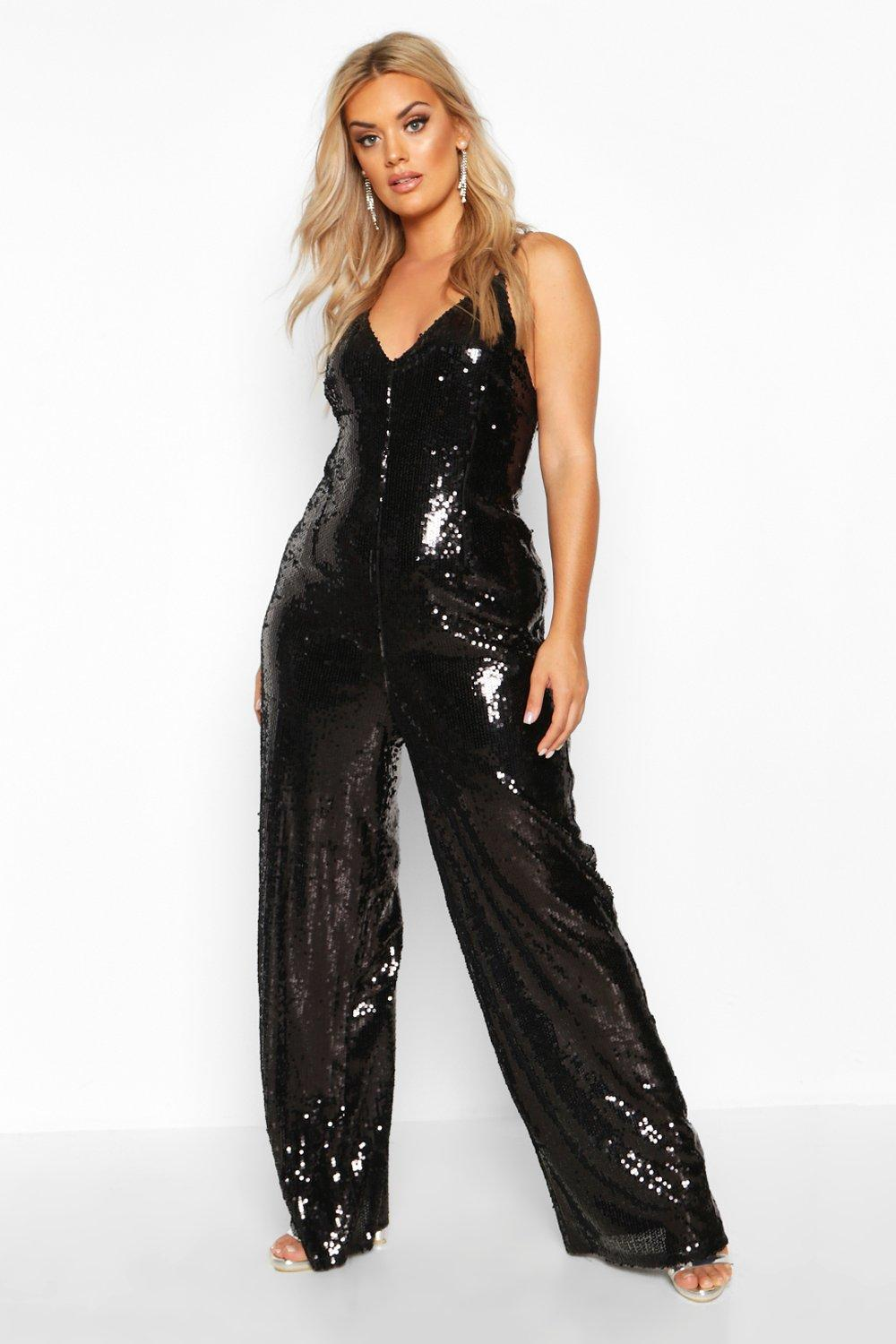 70s Disco Fashion: Disco Clothes, Outfits for Girls Womens Plus Sequin Strappy Wide Leg Jumpsuit - Black - 16 $40.00 AT vintagedancer.com
