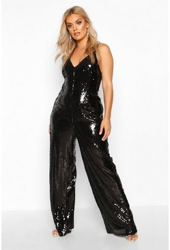 Black Plus Sequin Strappy Wide Leg Jumpsuit
