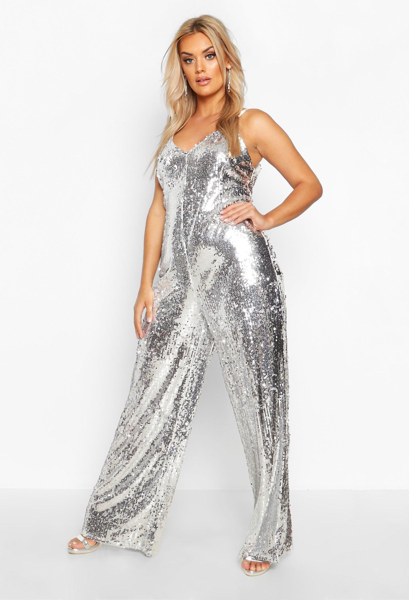 70s Clothes | Hippie Clothes & Outfits Womens Plus Sequin Strappy Wide Leg Jumpsuit - Grey - 16 $40.00 AT vintagedancer.com