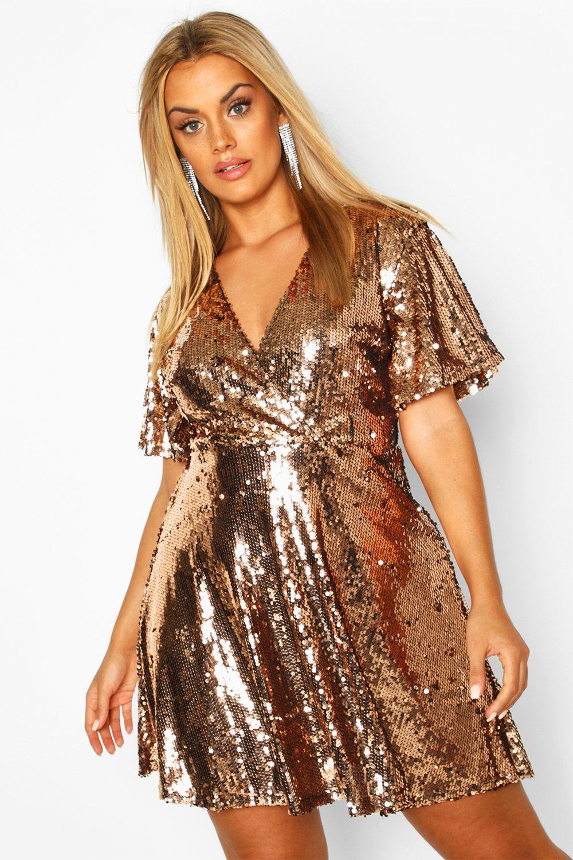 60s 70s Plus Size Dresses, Clothing, Costumes Womens Plus Sequin Wrap Sleeve Skater Dress - Metallics - 16 $24.00 AT vintagedancer.com