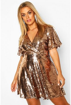 Gold Plus Sequin Wrap Sleeve Skater Dress