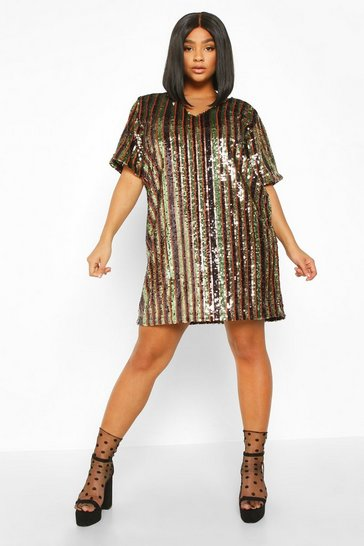 Bronze Plus Sequin Stripe Shift Dress