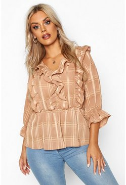 Womens Tan Plus Satin Check Ruffle Peplum Top