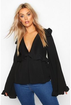 Womens Black Plus Frill Detail Blouse